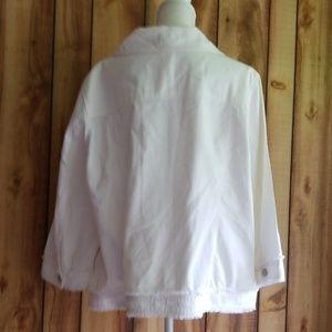 Ruby Rd. Jackets & Coats - Ruby Rd White Denim Bead Embellished Jacket